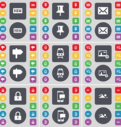 New Pin Message Signpost Train Picture Lock SMS vector