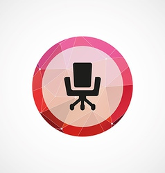 Office chair circle pink triangle background icon vector