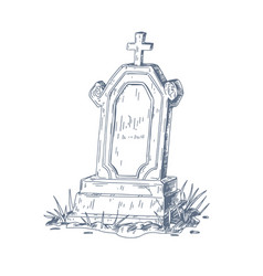 Old grave with upright gravestone and christian vector