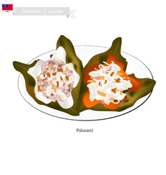 Palusami or Samoan Meat with Coconut in Taro Leave vector