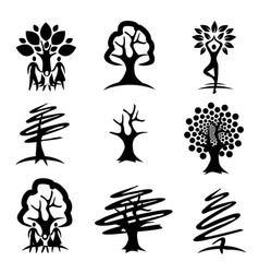 people and trees black icons vector image