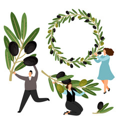 people hold olive branches and olive wreath vector image