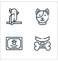 Pets line icons linear set quality line set such vector