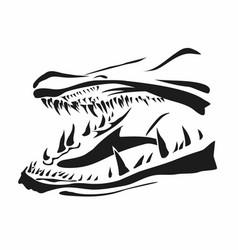 Pike fish jaws vector