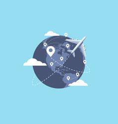 plane flying around world travel planning vector image