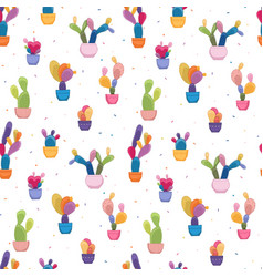 potted cacti houseplants seamless pattern texture vector image