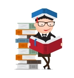 Pupil leaning on a pile books vector