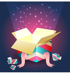Radiant light coming out from an open gift box vector