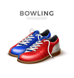 Realistci bowling shoes blue and red vector