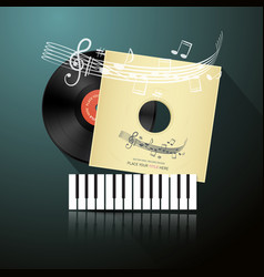 retro music background with lp vinyl record in vector image