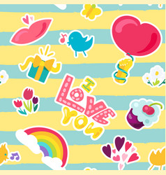 Romantic love patch in doodle style vector