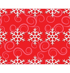 row of snowflakes on red vector image