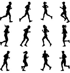 runners silhouette vector image