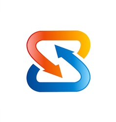 S letter circle arrow logo vector