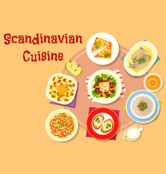 Scandinavian cuisine fish dishes icon design vector