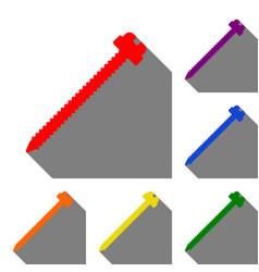 screw sign set of red orange vector image