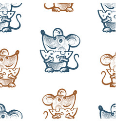 Seamless pattern funny mice with cheese vector