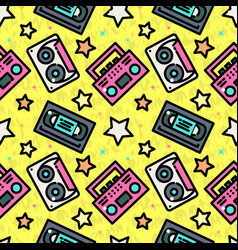 seamless pattern with cassette vector image