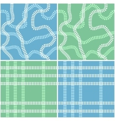 Seamless railroad background set vector image