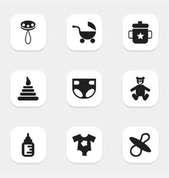 set of 9 editable child icons includes symbols vector image