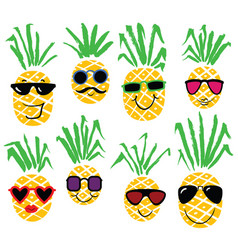 Set of pineapples like humans smiling pineapple vector