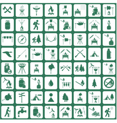 Set of travel and camping equipment icons vector