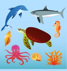set sea animals on light vector image