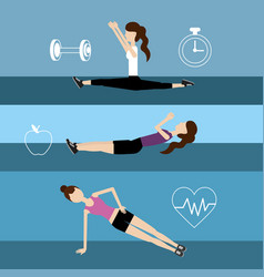 Set women healthy lifestyle to do exercise vector