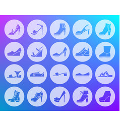 shoes shape carved flat icons set vector image