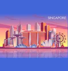 Singapore marina bay cityscape cartoon vector