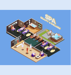 Spa center isometric composition vector