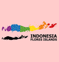 Spectrum collage map indonesia - flores islands vector