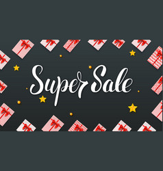 super sale gift boxes with red ribbons and bows vector image