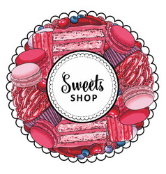 sweets shop logo with cupcake biscuits vector image