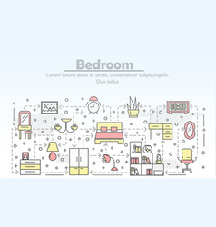 Thin line art bedroom poster banner vector