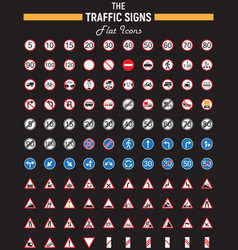 traffic signs flat icon set road symbols vector image