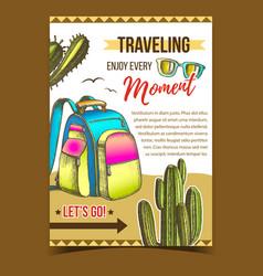 traveling backpack on desert sand banner vector image
