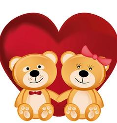 Two beautiful and cheerful teddy bears hugging vector
