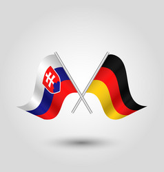 Two crossed slovak and german flags vector
