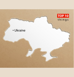 ukraine map on craft paper texture template vector image