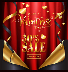 valentines day sale background page curl style vector image