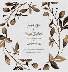 Watercolor floral vintage wedding invitation card vector