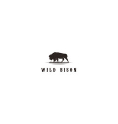 Wild bison bull buffalo angus silhouette steak vector