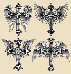 Winged cross set vector