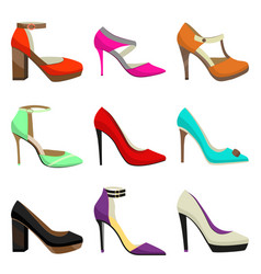 Woman high heel shoes set vector
