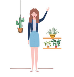 Woman with houseplant and macrame hangers vector