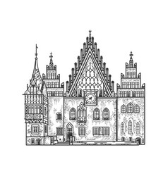 Wroclaw old town hall sketch vector