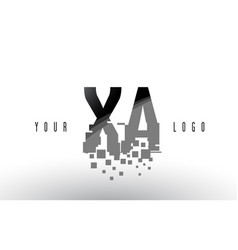 Xa x a pixel letter logo with digital shattered vector