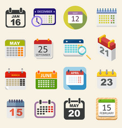 Calendar icons set business everyday planning vector