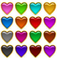 colorful icons hearts set vector image vector image